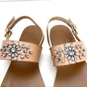 J. Crew Shoes - EUC J.Crew Crystal Jewelry Strappy Leather Sandal